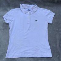 Lacoste Devanlay Ladies Polo Shirt White Sz 38 Small 10 12 Short Sleeve Tshirt