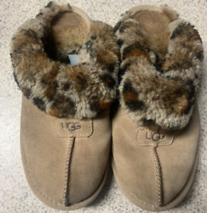 UGG Women's Leopard Suede Leather Fur Slippers USA 7 Brown Room Shoes