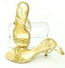 J. Crew Sandal Pump Women's 10 Gold Leather Buckle Strap Kitten Heel Shoes Italy