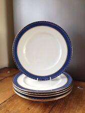 SET OF 6 VINTAGE BOOTHS RODNEY A8061 PATTERN BLUE & WHITE GILDED DINNER PLATES