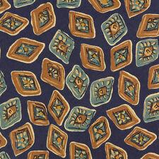 BURBERRYS London Suave Blue and Ochre Geometric Diamonds Silk Neck Tie