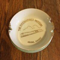 Vtg The Eisenhower Museum white ash tray Abilene Kansas 24 carat gold design