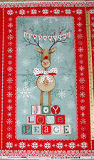 "Joy Love Peace Christmas Reindeer Studio E Fabric  23"" Panel    #3313P"