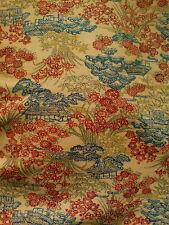 "Yellow Ochre Red Blue Minka Vintage Japanese Kimono Silk Wool Fabric 47"""