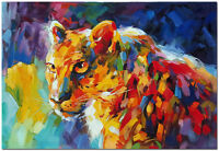 Hand Painted Leopard Oil Painting On Canvas - Wildlife Jaquar Animal Wall Art