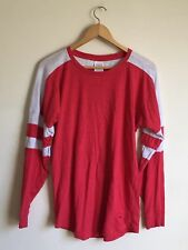 Pink by Victoria's Secret Long Sleeve Varsity Crew T-Shirt Red Size Small Tee