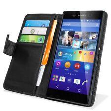Sony Xperia Z3 Handy Tasche Case Leder Etui Schwarz mit Kartenfächer