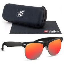 Jim Dale Sonnenbrille Browline Club Unisex Schwarz Rot verspiegelt UV400 Herren