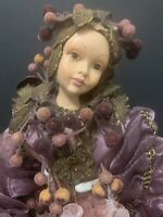 "Collectible Porcelain 17"" Vintage Harlequin Mardi Gras Doll ""PLUM"""