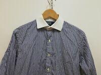 RALPH LAURENT REGENT CUSTOM FIT Camicia con GEMELLI Shirt Maglia Tg 15 - S Uomo