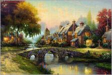 Thomas Kinkade COBBLESTONE BRIDGE A/N Canvas 24 x 36