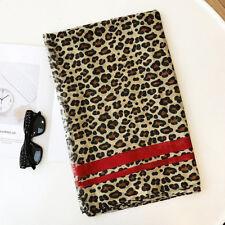 Gorgeous large Leopard print Scarf grey tones with mustard stripe wrap animal