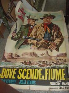 LA' DOVE SCENDE IL FIUME manifesto 4F  originale 1952 JAMES STEWART ROCK HUDSON