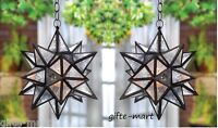 2 Moravian Outdoor oversize STAR hanging pendant Lantern Candle holder light