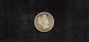 UNITED STATES 1911-D BARBER 50 CENTS. LIBERTY HEAD. 90% SILVER. PLS C BOTH SCANS