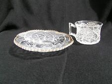Leaf in Oval Punch Cup and Saucer EAPG
