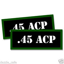 "45 ACP Ammo Can 2x .45 Labels Ammunition Case 3""x1.15"" stickers decals 2 pack"