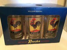 New listing Set Of 6 William Sonoma Retro sunrise Le Reveil Rooster Glasses Nib