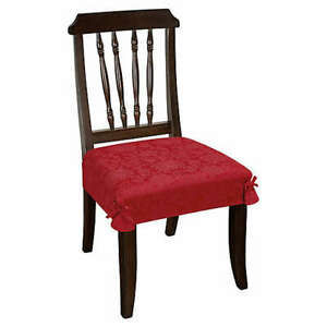 Holiday Medley Damask Seat Covers Set of 2 NEW Red 28 in x 36 in