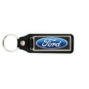 FORD BADGE LOGO WITH CARBON FIBER LOOK BACKGROUND KEY CHAIN KEYCHAIN  BLUE OVAL