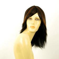 perruque femme 100% cheveux naturel mi-long méchée noir/cuivré JULIE 1b30