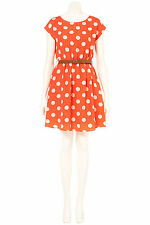 New TOPSHOP spot print dress with belt by Rare UK 6 in Coral/Multi