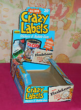 vintage Fleer CRAZY LABELS EMPTY RETAIL STORE DISPLAY BOX trading cards stickers