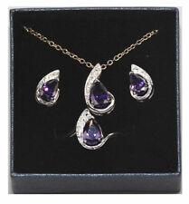 Lot of 28 Sets of Women's Royal Purple CZ Pendant, Earrings & Rings # 6