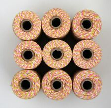 BAKERS TWINE - PINK YELLOW WHITE - ONE 100m roll 12ply - gift wrapping