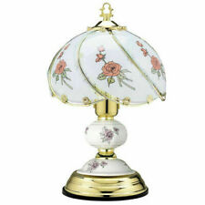 """TOUCH LAMP LIGHT BEDROOM OFFICE POLISHED BRASS TABLE BEDSIDE GLASS SENSITIVE 14"""""""