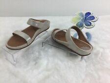 Fit Flop Silver Shimmer Slip On Opul Banda Slide 2 Strap Casual Sandals 38 US 7