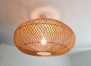 Hand Made Rattan Bali UFO ceiling Lamp shade Designer Ethnic Bali Lampshade 60cm