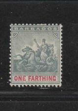 BARBADOS #70  1896  1f     BADGE OF THE COLONY  MINT  F-VF  HR  O.G  dd