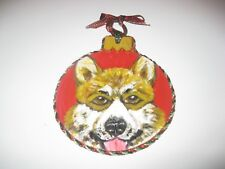HANDPAINTED PEMBROKE WELSH CORGI ORNAMENT METALLIC RIBBON TRIM SMDS NWT!