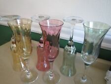 Elegant Jewel Color Iridescent Glass Champagne Flutes 6pc