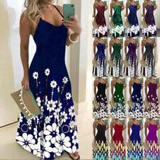 Womens Summer V-Neck Print Cami Dress Ladies Holiday Beach Maxi Dress Plus Size