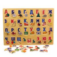 Bois Russe Alphabet Lettres Jigsaw Puzzles Enfants Jouet Éducatif Super