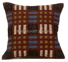 "Jute Cushion 18"" Wool Cover Handwoven Pillow Decorative Throw Kilim floor cushio"