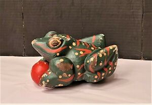Vintage Folk Art Primitive Painted Wooden Wood Frog Rolling Playing Ball Wheel