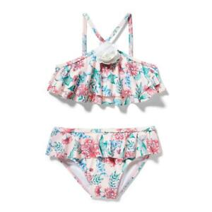 Janie And Jack Girl's Pink Hint Floral Ruffle Bikini Swim Suit Sz. 7 NWT