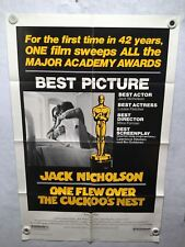 1975 One Flew Over the Cuckoo's Nest Oscar Original 1SH Movie Poster 27 x 41