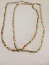 J.Crew Gold Enamel Link Layering Necklace NWT $45.00 Orange Cream set of 2