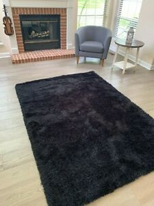 Shag Shaggy Black Color Area Rug Carpet Rug Solid Soft Decorative NEW Size 5'x8'