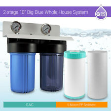 """Whole House Water Filtration System 10""""x 4.5""""  Municipal & Well Water 1"""" ports"""