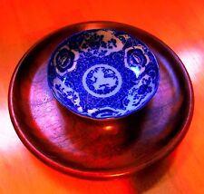 Japanese Imari Antique Bowl Custom Mahogany Serving Plate Original Unique Signed