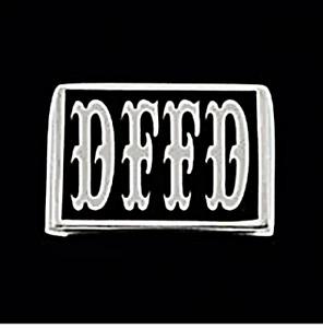Stainless DFFD Letter Biker Ring Big Top font Blk Enamel Custom Size LS3-045SS