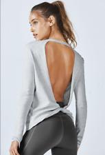 FABLETICS Gray FEMINA Open Back Twisted Long Sleeve Top Sweater sz XL