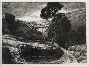 Constance Anne Parker (1921-2016) Woodcut. Mountainous landscape. Early state