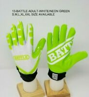 Battle Ultra-Stick Football Receivers Gloves White/Neon Green Adult & Youth