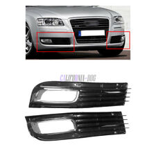 Pair Black Front Lower Bumper Fog Light Lamp Cover Grill For AUDI A8 D3 2008-10